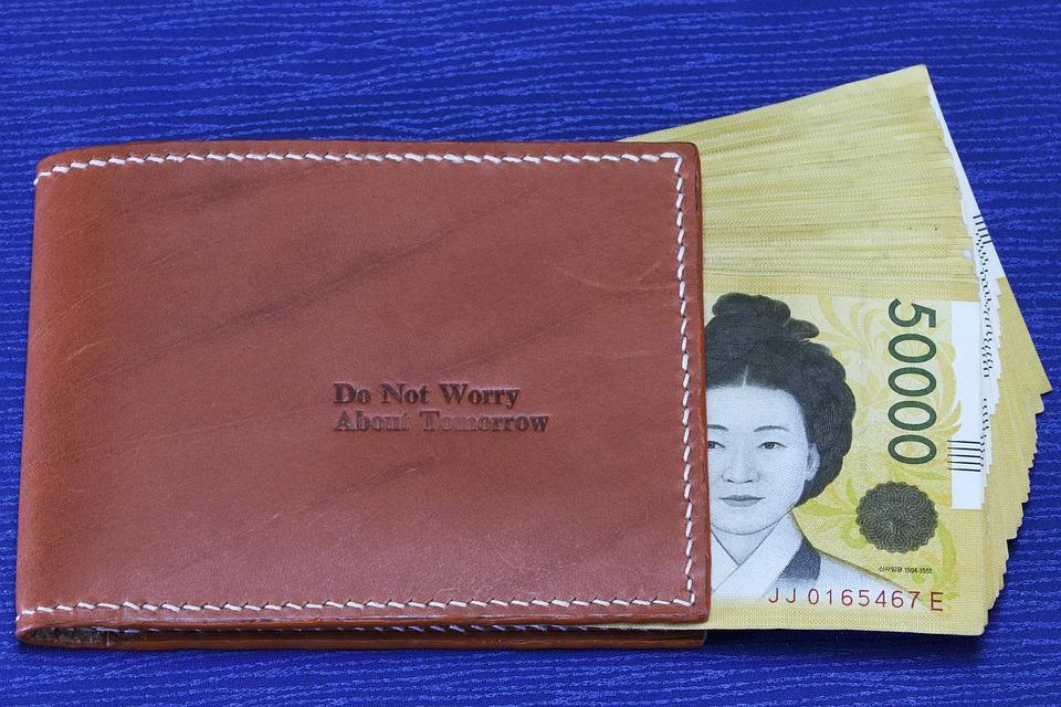 peněženka s bankovkou